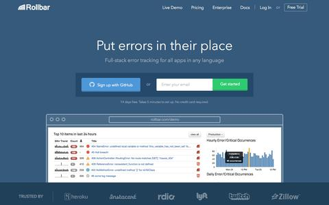 Screenshot of Home Page rollbar.com - Rollbar - Error Tracking Software for Ruby, Python, JavaScript, more - captured Oct. 1, 2015