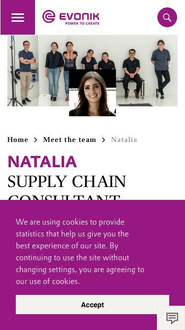 Screenshot of Team Page  evonik.com - Natalia                                                                - Evonik Careers