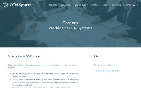 Screenshot of Jobs Page otnsystems.com - Careers · OTN Systems - captured April 7, 2017