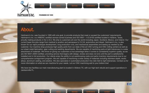 Screenshot of About Page hartmannsinc.com - Mysite   About - captured Nov. 4, 2018