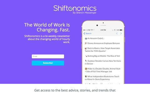 Screenshot of Home Page shiftonomics.com - Shiftonomics - The World of Work Is Changing. Fast. - captured July 11, 2018