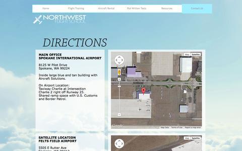Screenshot of Maps & Directions Page northwestflightschool.com - Directions - captured Oct. 7, 2014