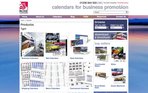 Screenshot of Products Page rosecalendars.co.uk - Products - 						Rose Calendars - captured Sept. 24, 2014