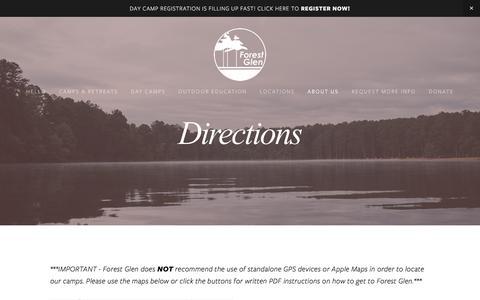 Screenshot of Maps & Directions Page forestglen.org - Directions — Forest Glen - captured June 17, 2016
