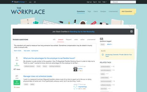 Screenshot of Hours Page stackexchange.com - Newest 'hours' Questions - The Workplace Stack Exchange - captured July 12, 2017