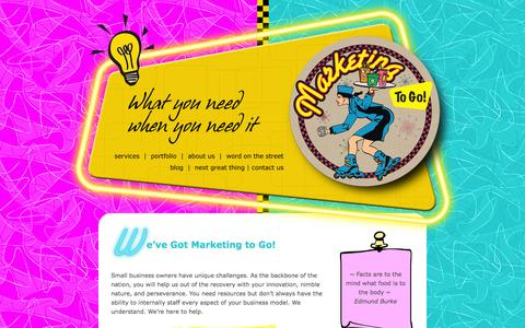 Screenshot of Home Page marketingtogonow.com - Marketing To Go with Laura Furumoto - captured Oct. 4, 2014