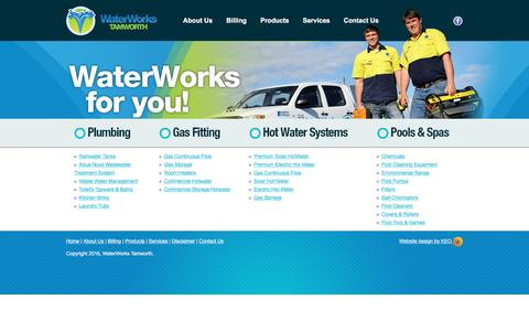 Screenshot of Products Page waterworkstamworth.com.au - Products | Water Works Tamworth - captured March 6, 2016
