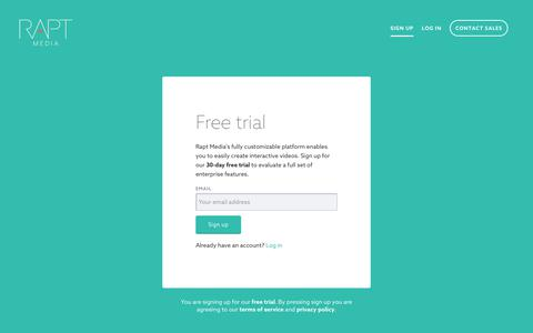 Screenshot of Trial Page raptmedia.com - Rapt Media   App - captured April 3, 2018