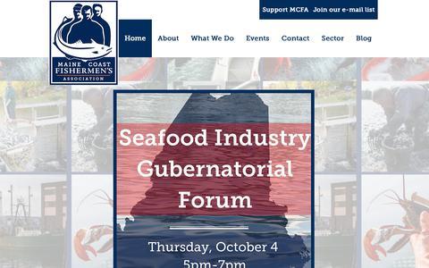 Screenshot of Home Page mainecoastfishermen.org - Maine Coast Fishermen's Association - captured Oct. 1, 2018