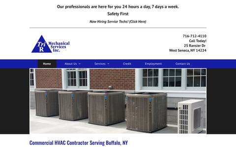 Screenshot of Home Page trirmechanical.com - Commercial Heating Contractor | Industrial HVAC Systems | Buffalo, NY - captured Oct. 20, 2018