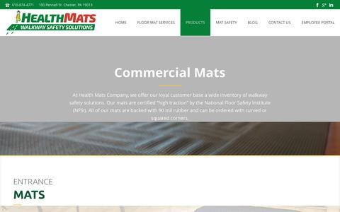 Screenshot of Products Page healthmats.com - Commercial Mat & Rentals: NJ, PA, MD & DE - captured Nov. 5, 2016