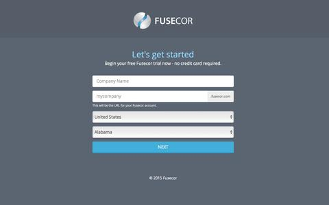 Screenshot of Trial Page fusecor.com - Fusecor - Sign Up for a 14 Days Free Trial - captured Jan. 8, 2016