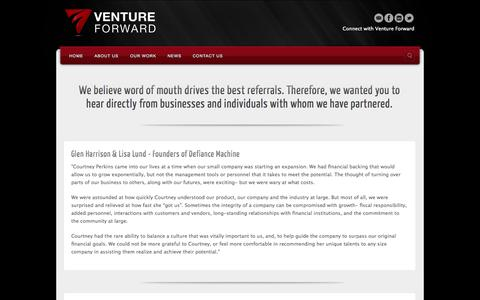 Screenshot of Testimonials Page v-fwd.com - Testimonials | Venture Forward - captured Oct. 26, 2014
