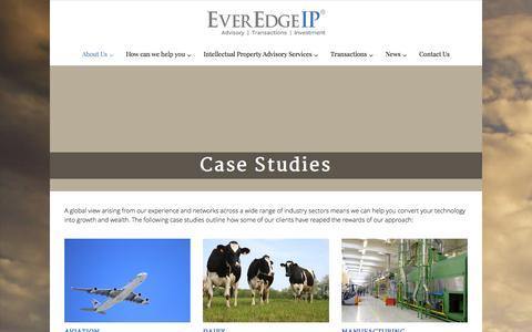 Screenshot of Case Studies Page everedgeip.com - Case Studies - EverEdgeIP - captured Jan. 22, 2016