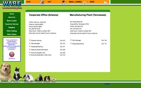 Screenshot of Support Page waremfginc.com - Ware Customer Support - captured Oct. 7, 2014