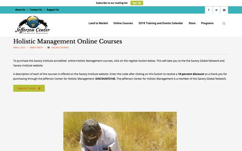 Screenshot of Signup Page jeffersonhub.com - Holistic Management Online Courses - Jefferson Center - captured Nov. 2, 2018