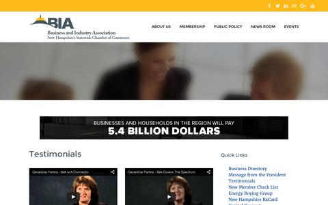 Screenshot of Testimonials Page biaofnh.com - Testimonials - Business and Industry Association | New Hampshire's Statewide Chamber of Commerce - captured Feb. 8, 2016