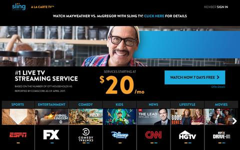 Screenshot of Home Page sling.com - Sling TV is A La Carte TV - Watch 7 Days Free! - captured Aug. 26, 2017