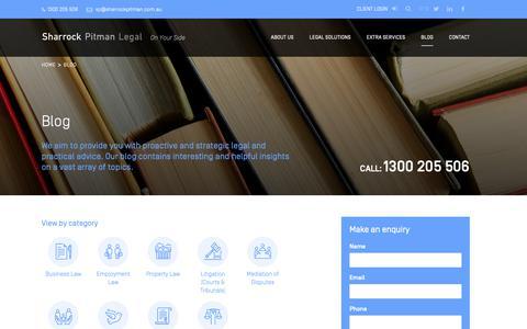 Screenshot of Blog sharrockpitman.com.au - Blog | Sharrock Pitman Legal - captured Oct. 2, 2018