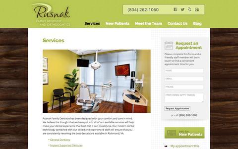 Screenshot of Services Page rusnakfamilydentistry.com - Dentists Richmond VA | Dental Services | Rusnak Family Dentistry - captured Sept. 30, 2014