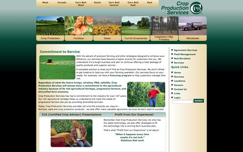 Screenshot of Services Page cpsagu.com - Crop Production Services - Commitment to Service - captured Oct. 27, 2014