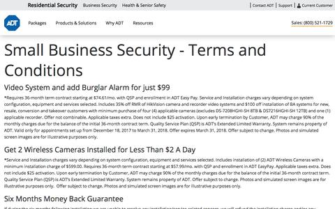Small Business Security Terms & Conditions - ADT Security Services