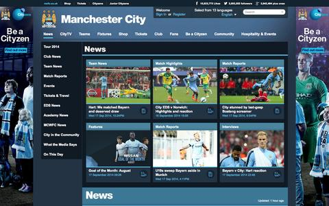 Screenshot of Press Page mcfc.co.uk - Manchester City News | Features | Match Reports & Tickets News - Manchester City FC - captured Sept. 18, 2014