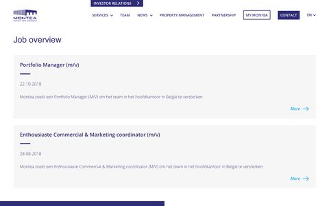 Screenshot of Jobs Page montea.com - Jobs | Montea.com - captured Nov. 19, 2018