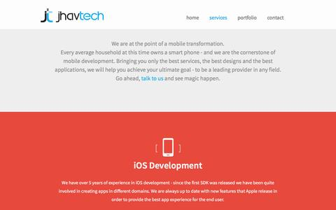 Screenshot of Services Page jhavtech.com.au - Services - JhavTech: Consulting & Mobile development (iOS, Android, Windows Phone) - captured Feb. 11, 2016