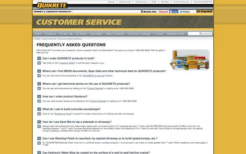 Screenshot of FAQ Page quikrete.com - QUIKRETE® - Frequently Asked Questions - captured Sept. 19, 2014