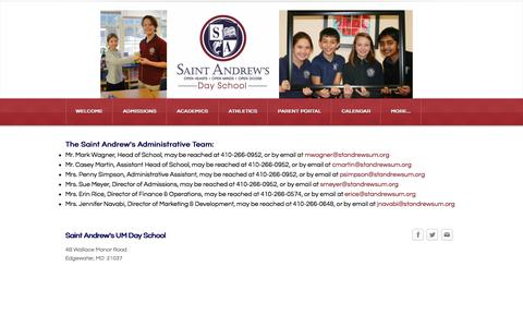 Screenshot of Contact Page standrewsum.org - Contact Us - Saint Andrew's Day School - captured Feb. 16, 2016