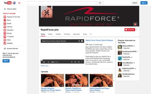 Screenshot of YouTube Page youtube.com - RapidForce phs  - YouTube - captured Nov. 5, 2014