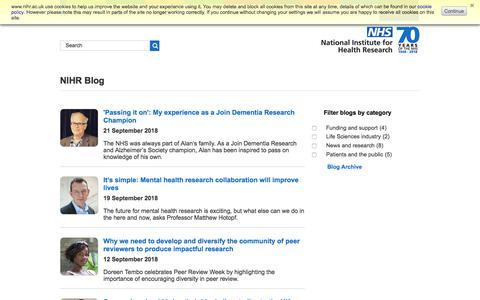 Screenshot of Blog nihr.ac.uk - NIHR Blog - captured Sept. 23, 2018