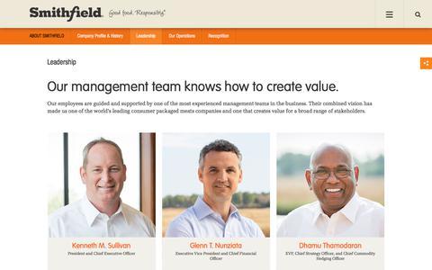 Screenshot of Team Page smithfieldfoods.com - Leadership at Smithfield Foods, Inc. | Smithfield Company Management - captured March 15, 2018