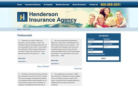 Screenshot of Testimonials Page hendersonagency.net - Testimonials | Henderson Insurance Agency of Greenwood Village Colorado - captured Oct. 2, 2014