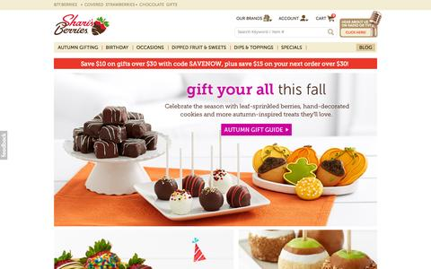 Screenshot of Home Page berries.com - Chocolate Covered Strawberries at Shari's Berries - captured Oct. 1, 2015