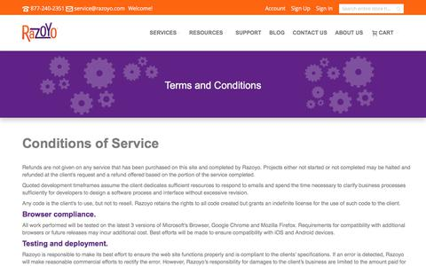 Screenshot of Terms Page razoyo.com - Terms and Conditions - captured June 12, 2017