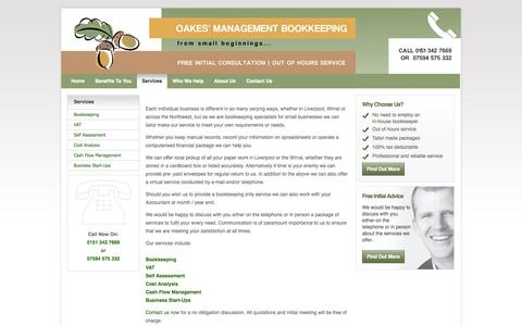 Screenshot of Services Page oakesbookkeeping.co.uk - Bookkeeping Services   Oakes' Management Bookkeeping - Accounting Clerks Liverpool & Wirral - captured Sept. 30, 2014