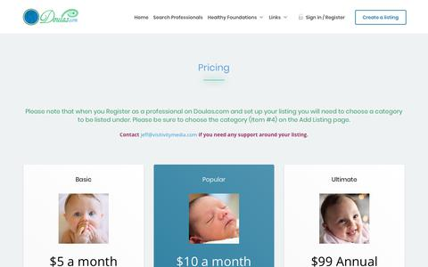 Screenshot of Pricing Page doulas.com - Pricing – DOULAS Directory - captured April 17, 2018