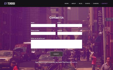 Screenshot of Contact Page tendigi.com - Tendigi - Contact - captured Nov. 5, 2014