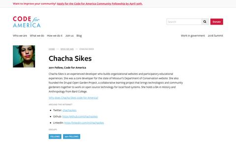 Screenshot of Team Page codeforamerica.org - Chacha Sikes - Code for America - captured April 21, 2018