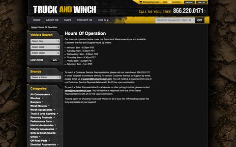 Screenshot of Hours Page truckandwinch.com - Hours Of Operation - captured Oct. 9, 2014