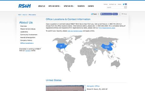 Screenshot of Contact Page Locations Page rsandh.com - RS&H - Office Locations - captured Oct. 26, 2014