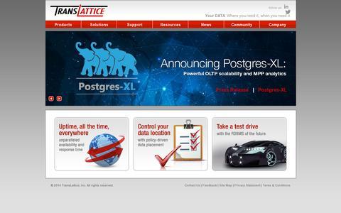Screenshot of Home Page translattice.com - TransLattice - captured July 11, 2014