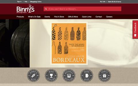 Screenshot of Home Page binnys.com - Binny's Beverage Depot - 31 Chicago Locations - captured Oct. 1, 2015