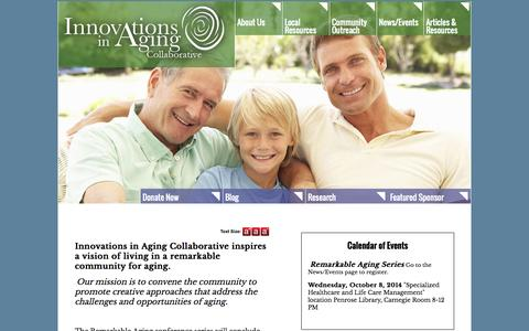 Screenshot of Home Page innovationsinaging.org - Home - captured Oct. 6, 2014
