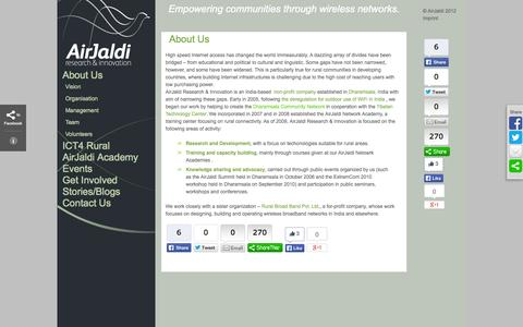 Screenshot of About Page airjaldi.org - AirJaldi Research & Innovation   Empowering communities through wireless networks. - captured Oct. 4, 2014