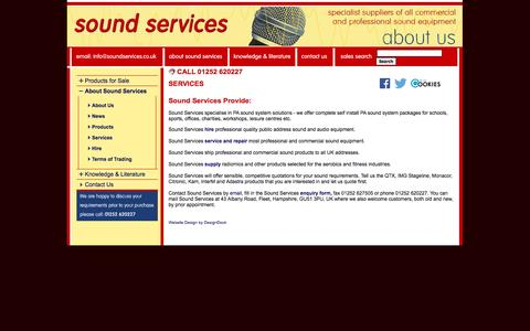 Screenshot of Services Page soundservices.co.uk - Sound Services Services - Amplifiers, loudspeakers, microphones, radiomics, and complete sound systems from Monacor, IMG Stageline, Adastra, QTX, Citronic, Eagle and SoundLab - captured Sept. 30, 2014