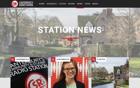 Screenshot of Press Page csrfm.com - Station News - CSRfm - Canterbury's Community & Student Radio - captured Sept. 26, 2018