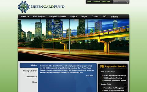 Screenshot of Home Page greencardfund.com - GreenCardFund | Arizona EB-5 Regional Center | Immigration | Investment | Opportunity - captured Oct. 3, 2014
